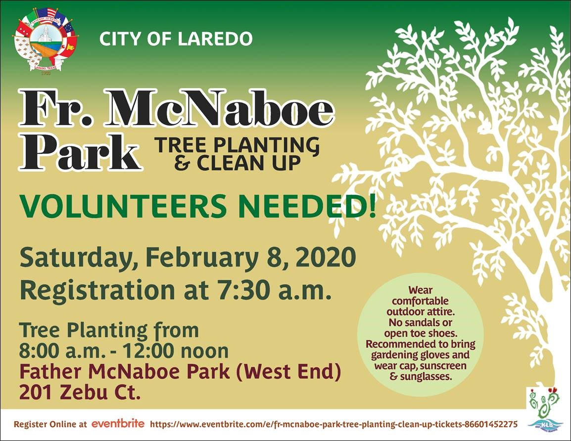 Fr. McNaboe Park Tree Planting & Clean Up February 8, 2020  @ 7:30 am.