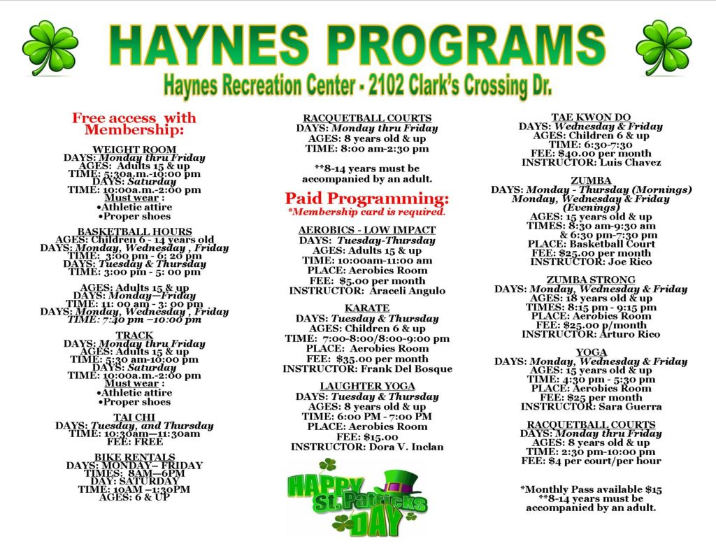 Haynes March 2020 Newsletter Programs
