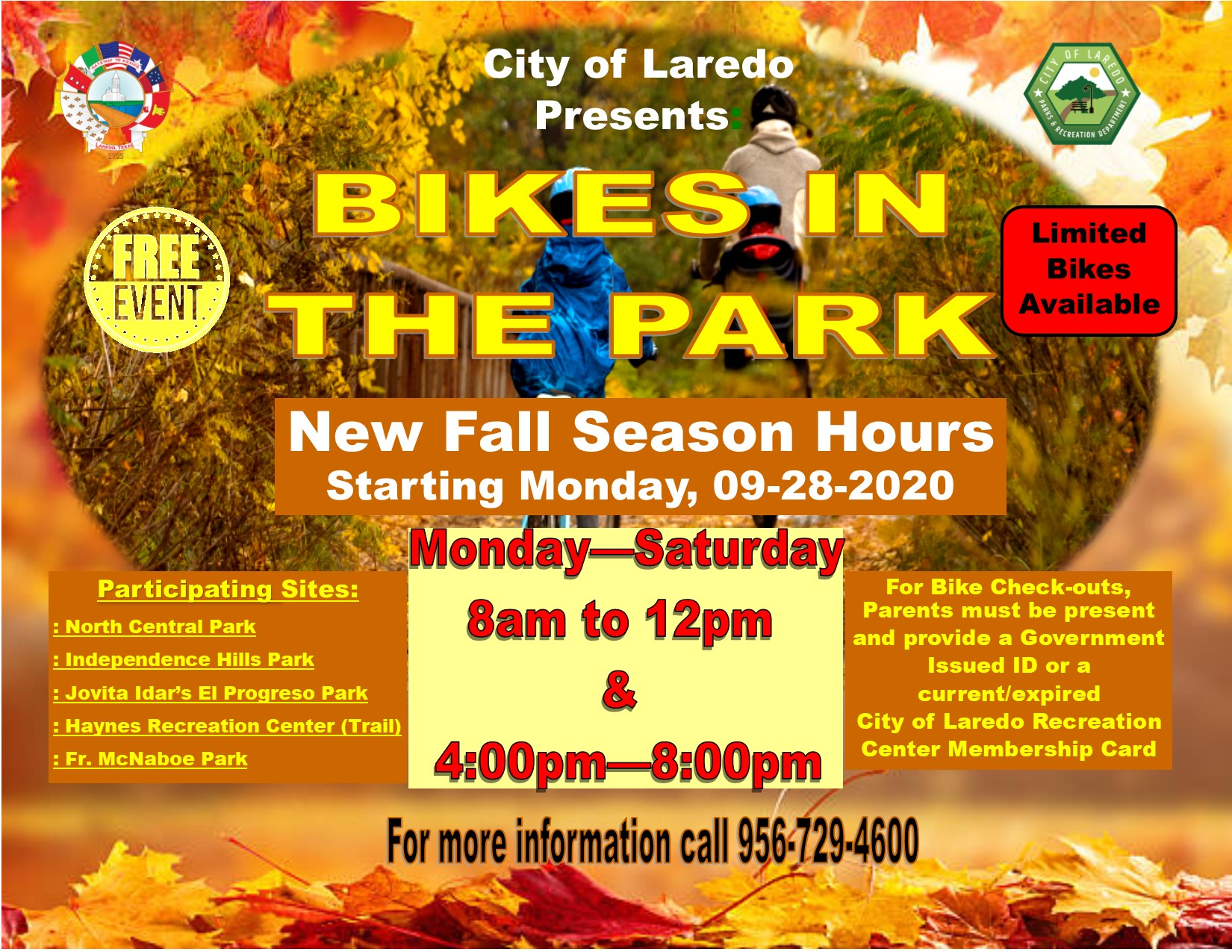 Bikes In The Park-- Fall Season Hours adjustment