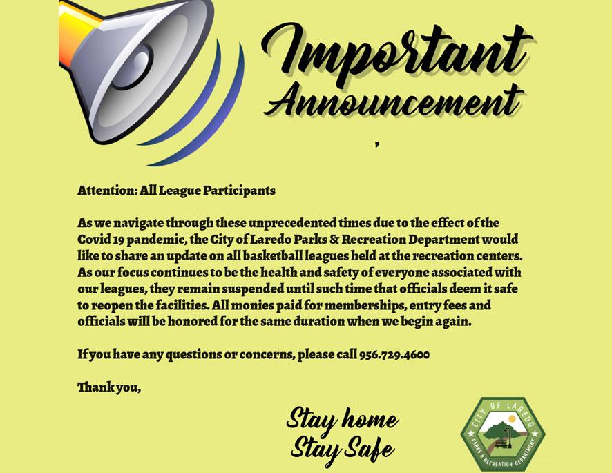 Attention All League Participants