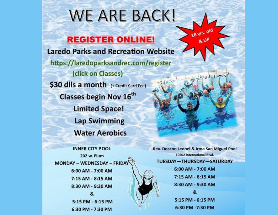 2  Heated Pools to open for lap swimming & water aerobics