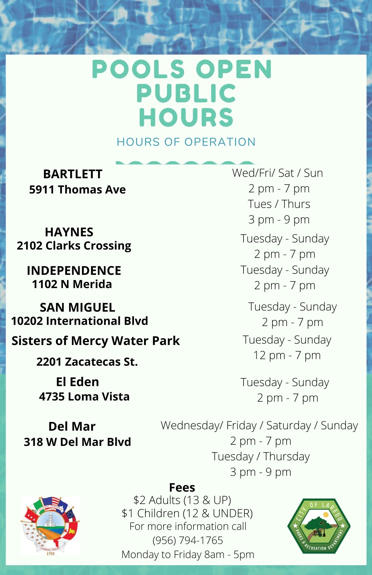 Updated Pool Hours 7-21-21